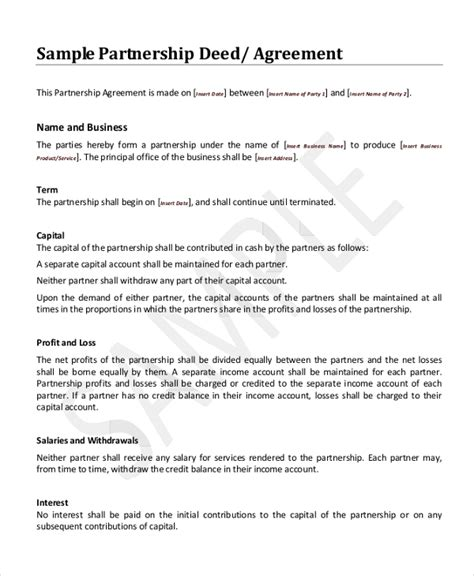 deed of agreement template sle business partnership agreement form 8 free