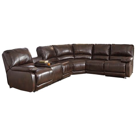 reclining sectional sofa with massage and heat signature design by ashley hallettsville power reclining