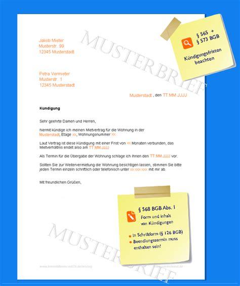 Musterbrief Für Kündigung Einer Versicherung k 252 ndigung mietvertrag musterbrief invitation templated