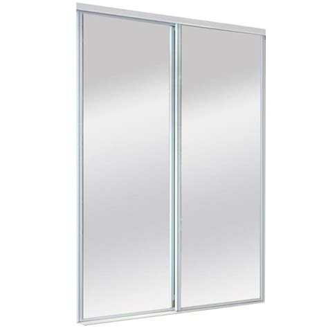Bifold Mirrored Closet Doors Lowes Shop Reliabilt White Mirrored Sliding Door Common 60 Inx 80 5 In Actual 60 Inx 80 Inches At