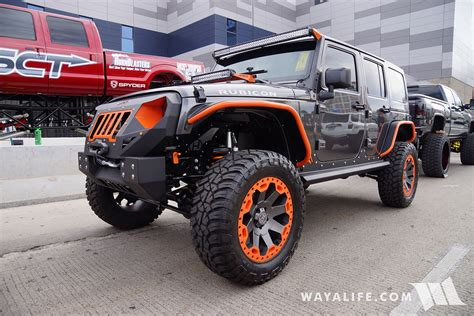 orange jeep 2016 sema fab four granite orange jeep jk wrangler unlimited