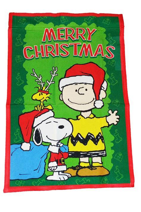peanuts snoopy  charlie brown merry christmas flag   ebay