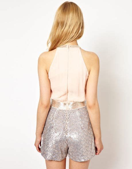 Bl Playsuit connection playsuit with sequin in silver pwderbasevapourbl lyst