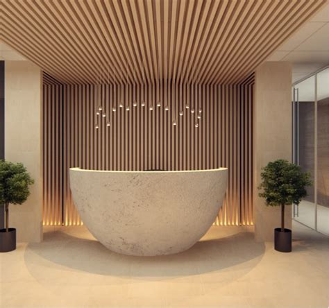 reception desk design wood slats add texture and warmth to these homes