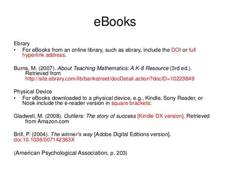 reference books ebook apa reference lists 6th ed