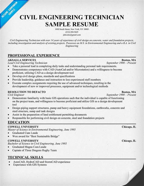 Sample Resume Objectives Civil Engineering by Civil Engineering Technician Resume Resumecompanion Com