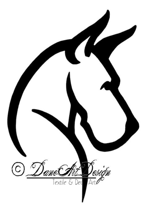 large great dane head decal with cropped ears from daneart