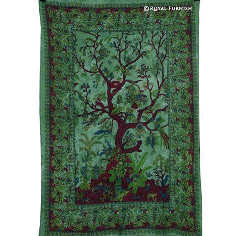 tree wall hanging green tree of wall decor fabric tapestry wall