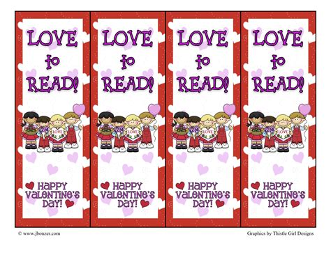 printable bookmarks valentine s day 5 best images of free printable valentine s day bookmarks