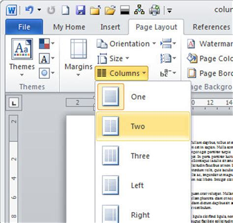 word layout two columns create and undo columns in word 171 projectwoman com