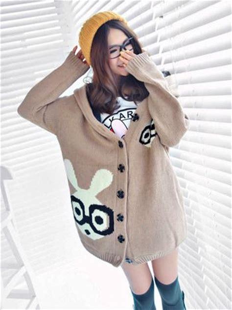 Sweety Rabbit Sweater White Sweater Wanita Sweater Rabbit japanese sweaters