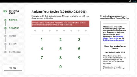 the code activate connect your clover devices