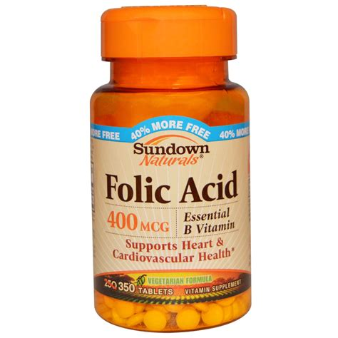 Tablet Folic Acid Rexall Sundown Naturals Folic Acid 400 Mcg 350 Tablets Iherb