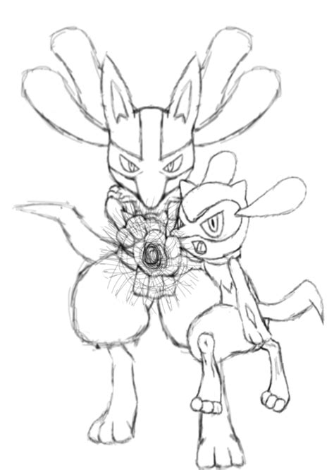 pokemon coloring pages riolu lucario and riolu aura sphere sketch by jamalc157 on