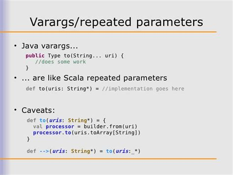 pattern match varargs scala developing a new scala dsl for apache camel