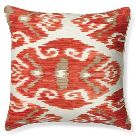 silk ikat with piping pillow cover coral williams sonoma