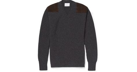 Sweater Patch Suede Leather Navy kingsman geelong wool sweater with suede shoulder patches in gray for lyst