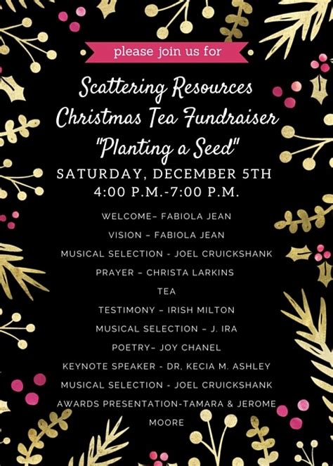 a christmas meeting agenda tea fundraiser planting a seed scattering resources