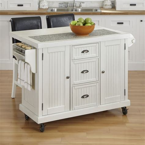 Island Kitchen Nantucket | home styles 50 nantucket kitchen cart and two stools atg
