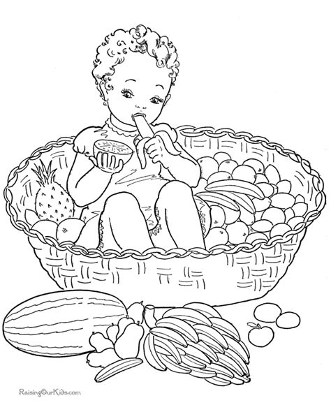 fruit in a basket coloring pages