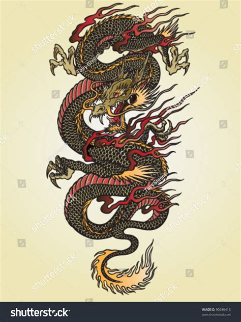 full color asian dragon tattoo illustration stock vector