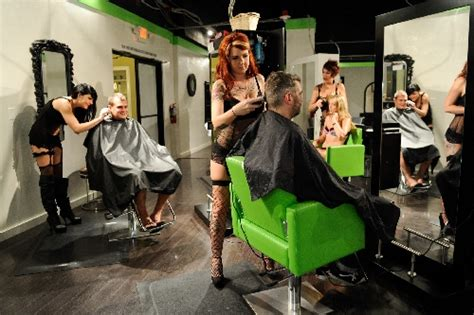 lingerie wearing hair stylists take their work seriously