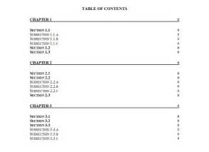 printable table of contents template table of contents template word table of contents word