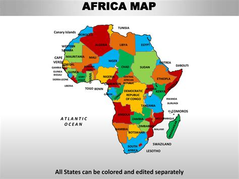 africa map in color africa editable continent map with countries