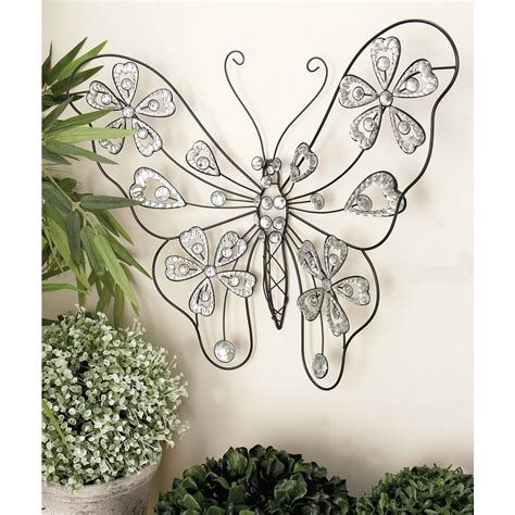 22 in x 18 in glitz inspired black iron wire butterfly