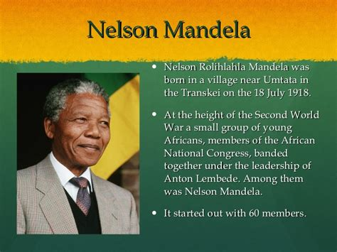 a brief biography of nelson rolihlahla mandela ppt nelson mandela