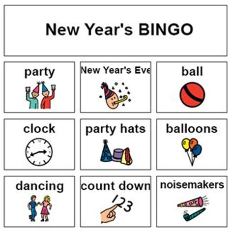 new year picture bingo newyearsbingo