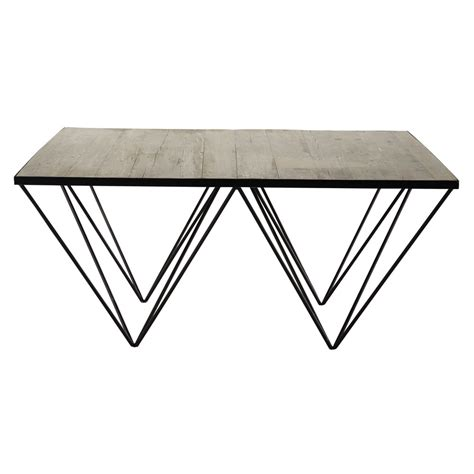 Square Wood And Metal Coffee Table Recycled Wood And Metal Square Coffee Table W 100cm Maisons Du Monde