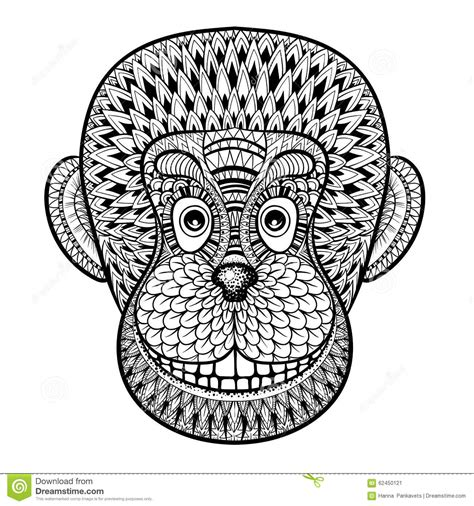 monkey coloring pages for adults coloring pages with head of monkey gorilla zentangle