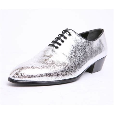 mens pointed toe glitter silver lace  high heels oxfords