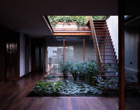 home courtyards serene house with courtyard pond