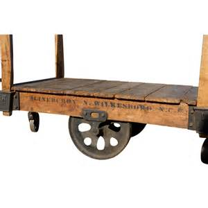 48 quot pair antique wood iron industrial rolling cart ebay