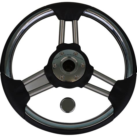 steering wheel stainless black full throttle style - Boat Steering Wheel And Throttle