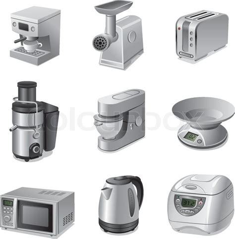 appliances for small kitchen small kitchen appliances icon set stock vector colourbox