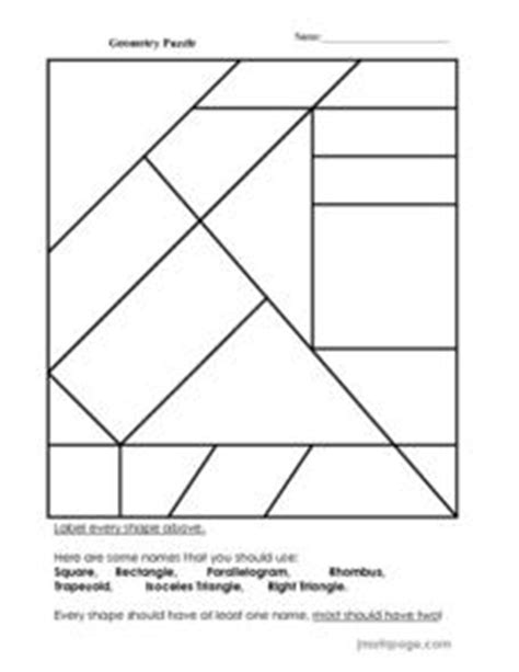 printable geometric puzzle geometry puzzle 2nd 3rd grade worksheet lesson planet