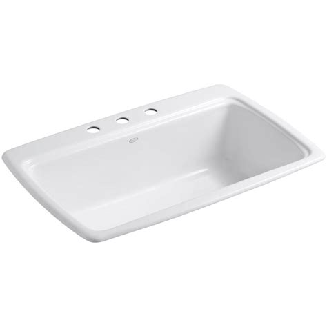 White Cast Iron Kitchen Sink by Kohler Cape Dory Drop In Cast Iron 33 In 3 Single