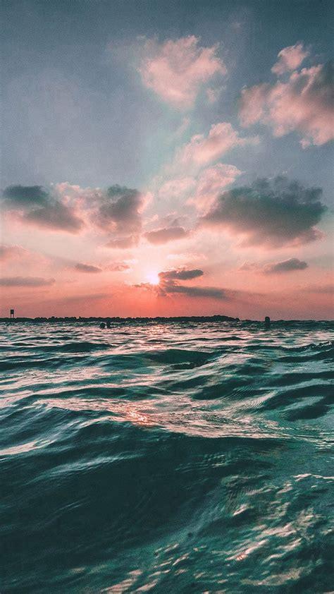 sunset sea sky ocean summer green water nature iphone