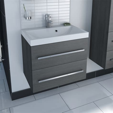 Drift Grey 2 Drawer Wall Hung Unit Inset Basin