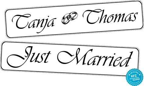 Just Married Autokennzeichen by Kfz Kennzeichen Hochzeit Just Married Mit Ringe Und Namen