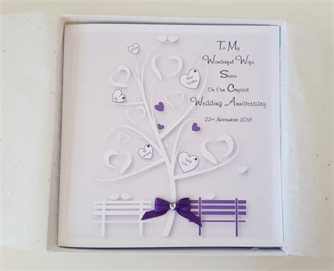 personalised crystal wedding anniversary card husband wife