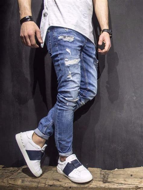 mens light blue jeans ripped adj men slim fit ala ripped destroyed jeans light blue