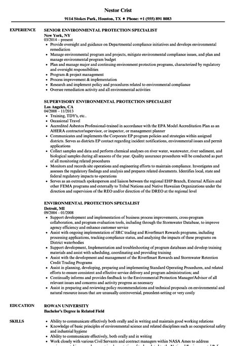 Environmental Protection Specialist by Activity Specialist Sle Resume Manager Sle Resume