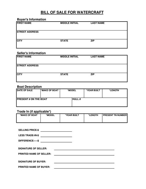 used boat bill of sale form free new watercraft bill of sale form templates at