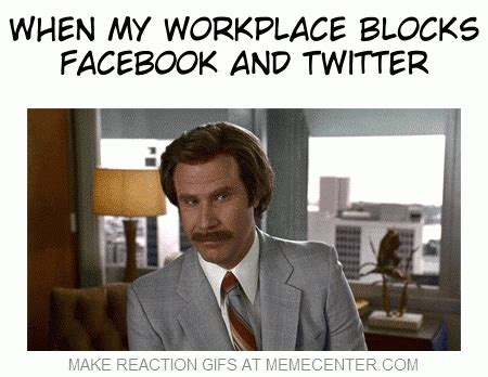 Funny Workplace Memes - when my workplace blocks facebook and twitter by