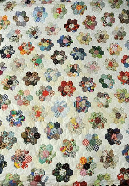 hexagon flower pattern quilt grandmother s flower garden quilt flower english paper