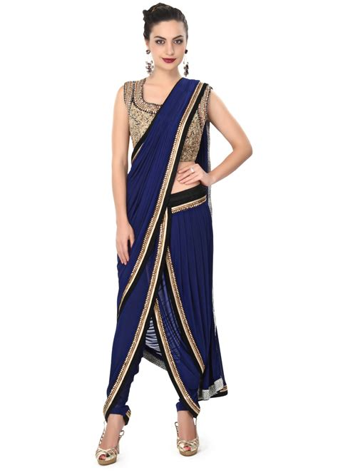 Indian Blouse Navy navy blue dhoti saree gown matched in embroidered blouse